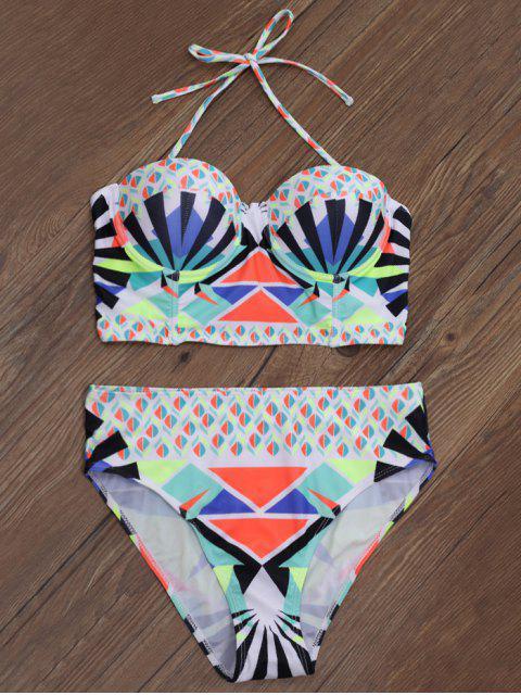 best Geometric Print Underwire Bikini - MULTICOLOR L Mobile
