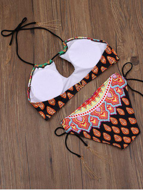 outfits Loop Tie Side Halter Bikini - MULTICOLOR M Mobile
