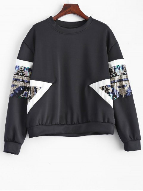 affordable Patched Sequin Sweatshirt - BLACK S Mobile