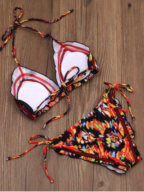 latest Printed Tie Side Stringy Plunge Bikini Set - MULTICOLOR L Mobile
