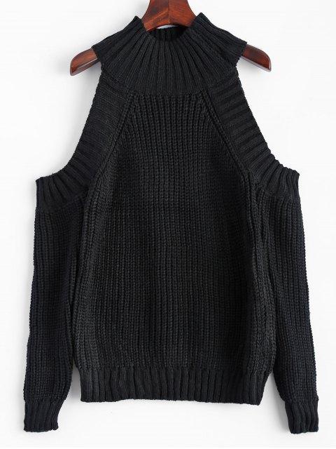 hot Cold Shoulder Funnel Collar Jumper - BLACK ONE SIZE Mobile