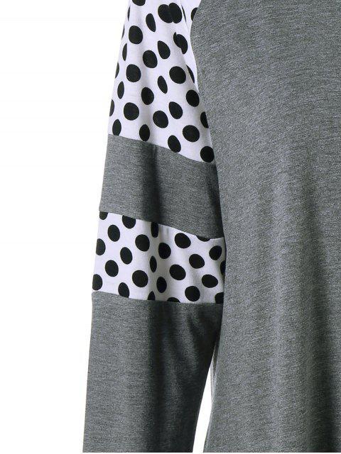 ladies Polka Dot Patchwork Plus Size Tee - GREY AND WHITE 5XL Mobile