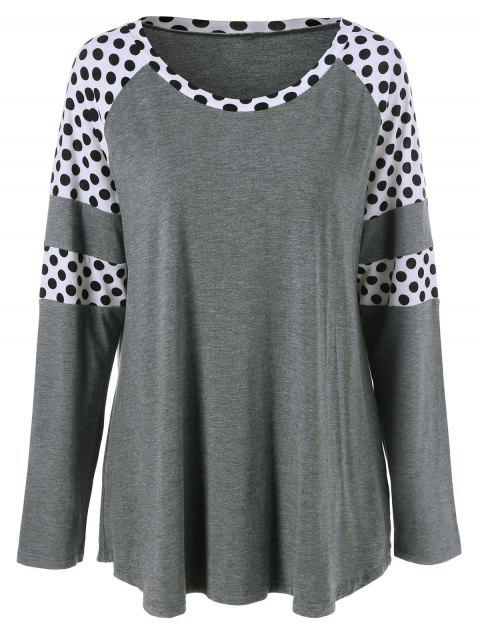 women Polka Dot Patchwork Plus Size Tee - GREY AND WHITE 3XL Mobile