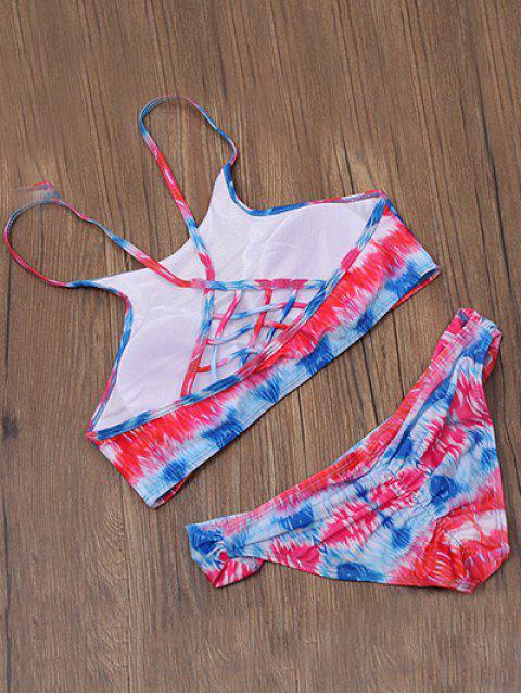 online Strappy Back High Neck Printed Bikini Set - MULTICOLOR XL Mobile