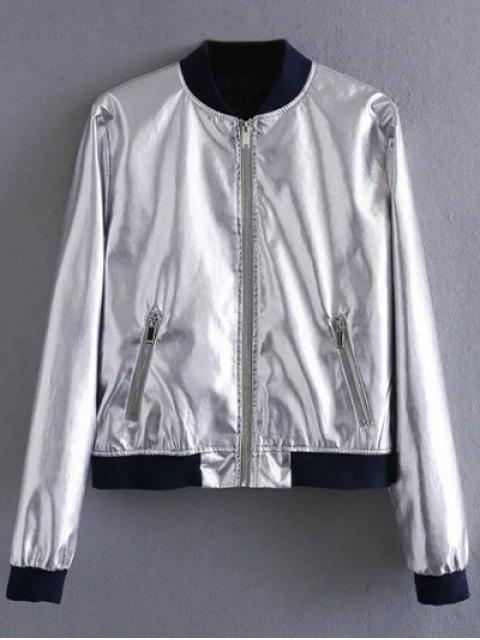 new Metallic Colored Bomber Jacket - SILVER L Mobile