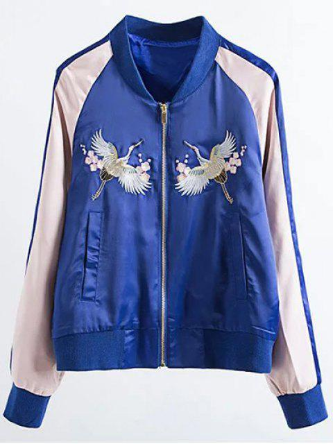 shops Two Tone Embroidered Satin Bomber Jacket - SAPPHIRE BLUE M Mobile