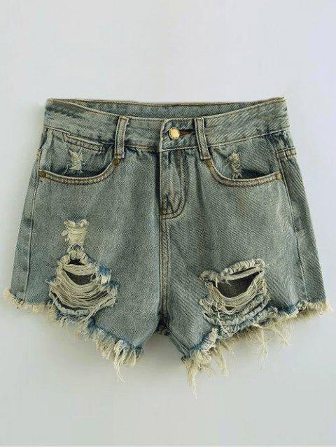 Pantalons sexy en denim déchiré - Bleu clair S Mobile