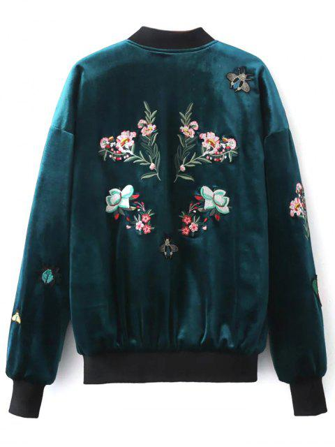 outfits Embroidered Single Breasted Velvet Jacket - PEACOCK BLUE L Mobile