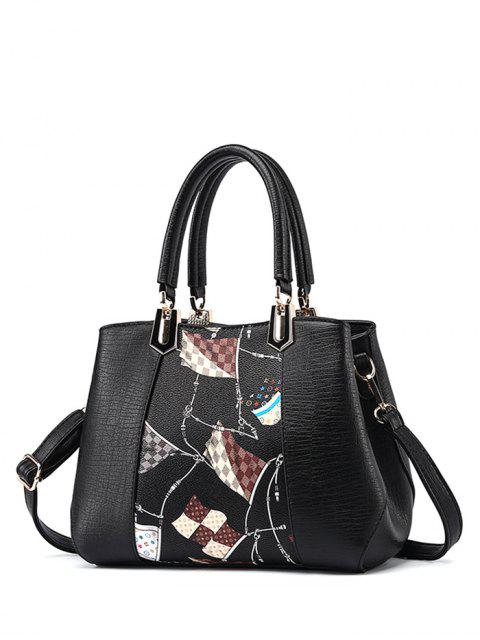 shops Color Block Flag Print Handbag - BLACK  Mobile