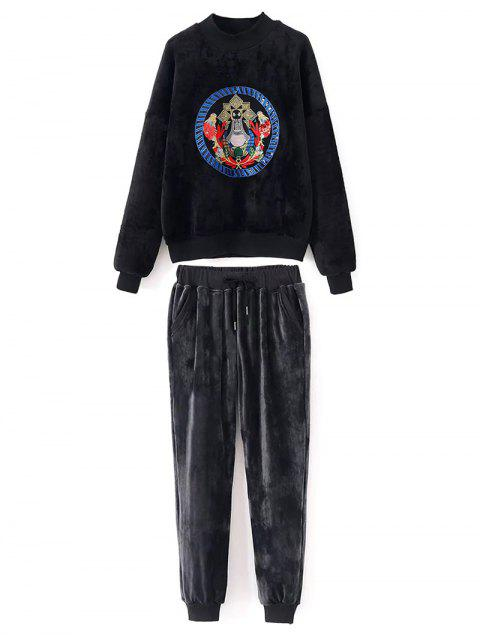 chic Embroidered Velvet Sweatshirt and Pants - BLACK L Mobile