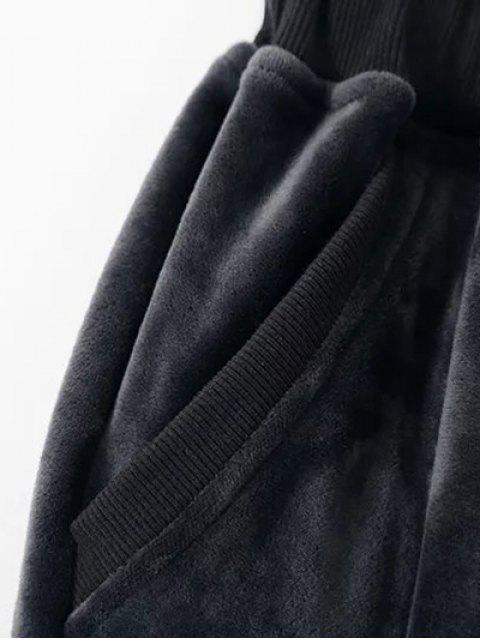 fancy Embroidered Velvet Sweatshirt and Pants - BLACK M Mobile