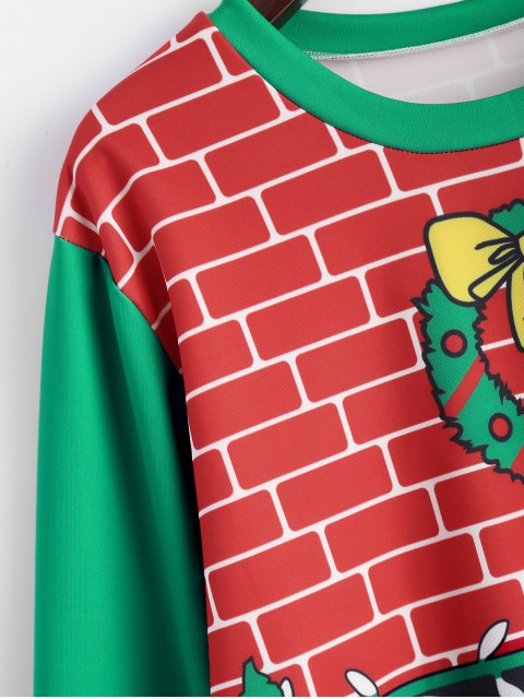 outfits Christmas Fireplace Sweatshirt - RED AND GREEN ONE SIZE Mobile