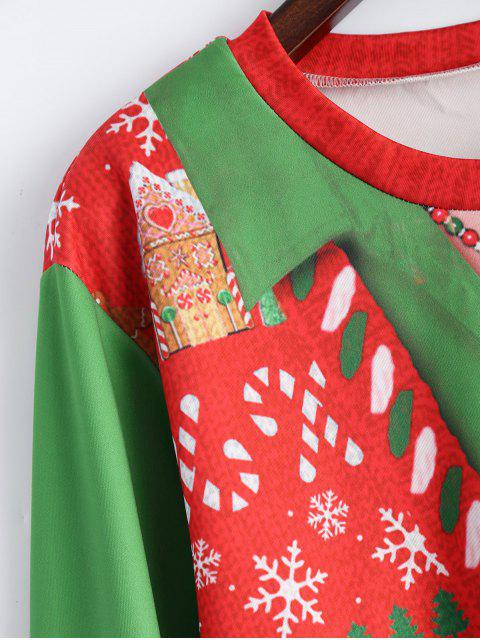 shop Christmas Snowflake Pattern Sweatshirt - RED AND GREEN ONE SIZE Mobile