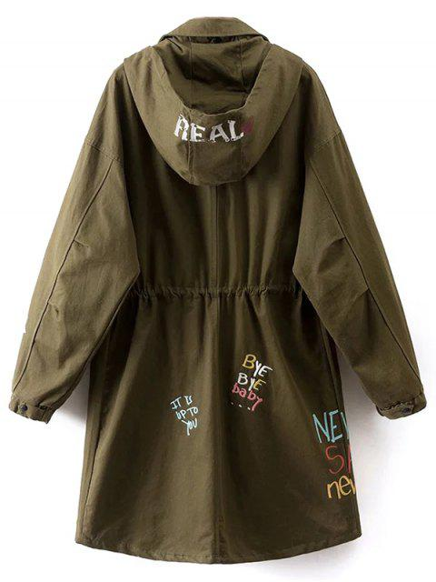 sale Printed Hooded Lightweight Coat - ARMY GREEN L Mobile