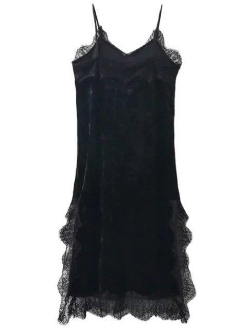 lady Lace Trim Velvet Cami Dress - BLACK L Mobile