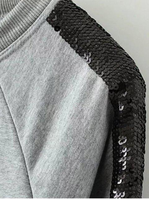 shops Sequins Raglan Sleeve Sweatshirt - GRAY L Mobile
