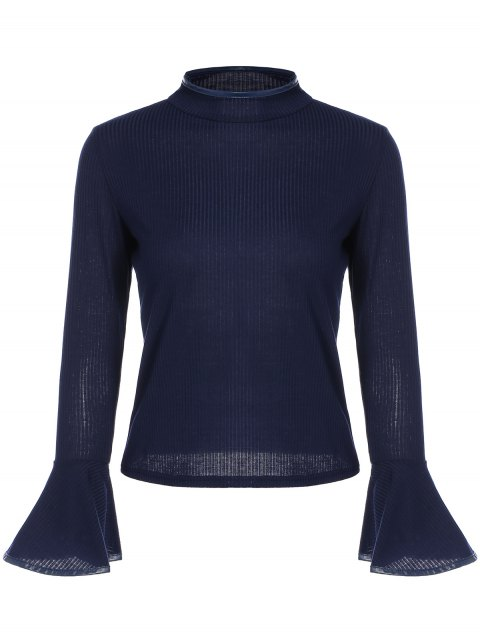sale Bell Sleeve Leather Edge T-Shirt - CADETBLUE ONE SIZE Mobile