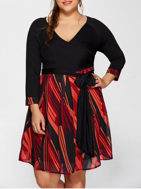 women's Printed A-Line Plus Size Dress - BLACK 5XL Mobile