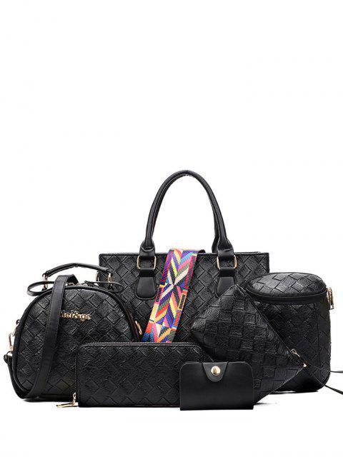 Weberei Handtasche mit Farbigem Streifen - Schwarz  Mobile