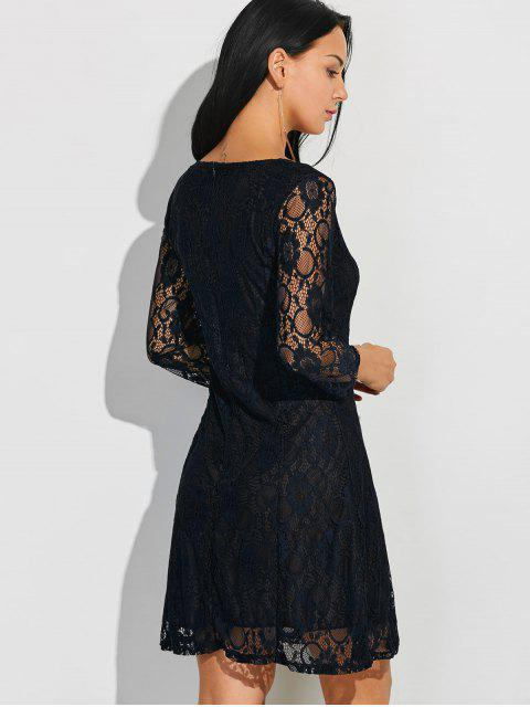 best Short Lace Dress With Sleeves - BLACK 2XL Mobile