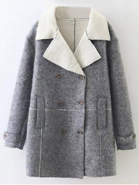 women's Double Breasted Fleece Lined Coat - GRAY S Mobile