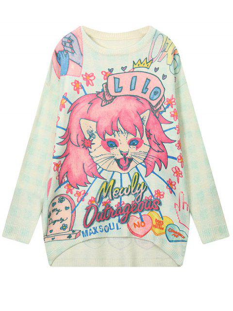fashion Cartoon Pattern High Low Sweater - LIGHT BLUE ONE SIZE Mobile