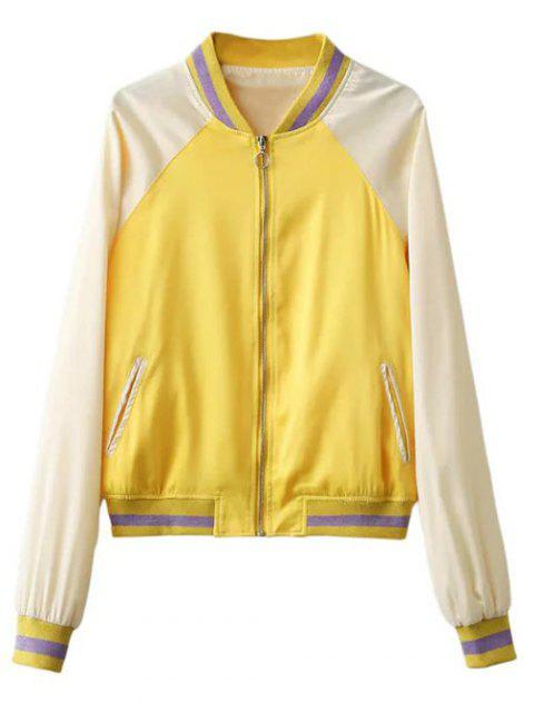 shops Color Block Zip Up Baseball Jacket - YELLOW S Mobile
