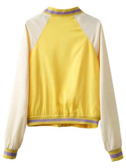 outfits Color Block Zip Up Baseball Jacket - YELLOW L Mobile