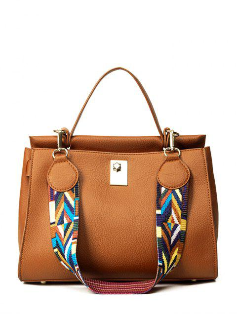 hot Colored Strap PU Leather Handbag -   Mobile