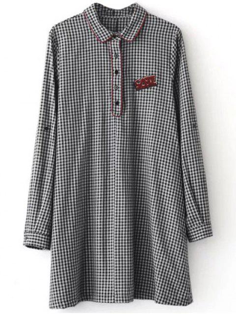 new Checked Long Sleeve Mini Dress - WHITE AND BLACK M Mobile