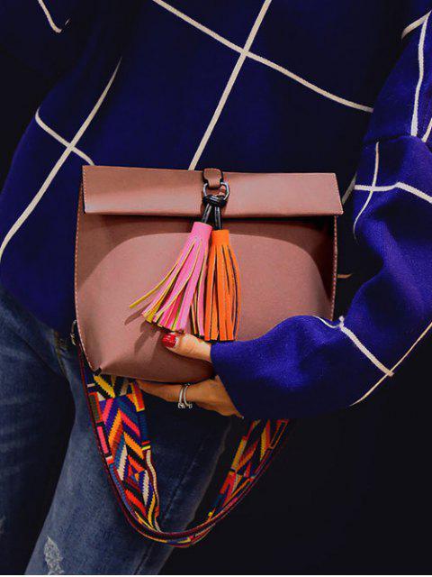 buy Tassels Magnetic Closure Colour Block Crossbody Bag - PINK  Mobile