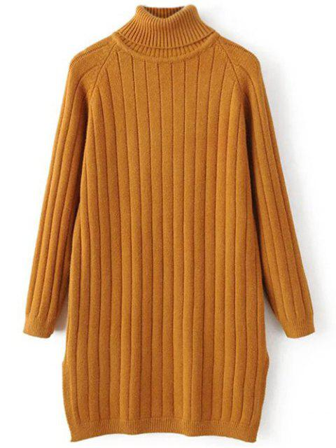 lady Turtleneck Ribbed Knit Long Sweater - EARTHY ONE SIZE Mobile