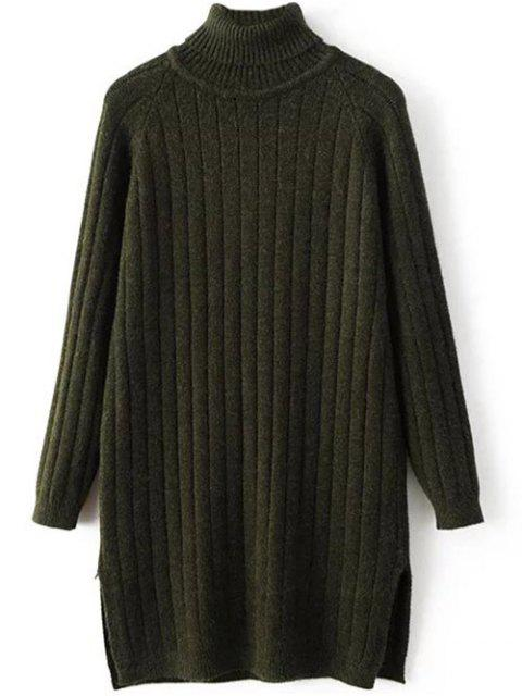best Turtleneck Ribbed Knit Long Sweater - BLACKISH GREEN ONE SIZE Mobile