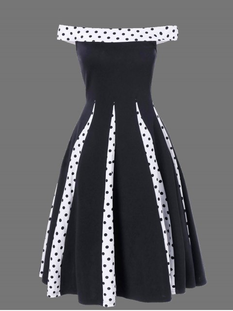 Polka Dot Trim Patchwork Fit and Flare Dress - Negro L Mobile