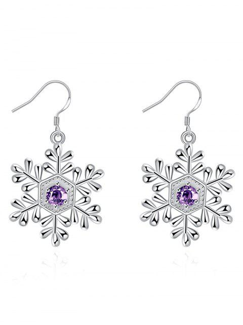 outfit Faux Amethyst Snowflake Christmas Earrings - SILVER  Mobile