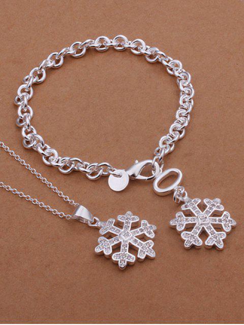 Collier et barcelet motif flocons de neige Noël - Argent  Mobile