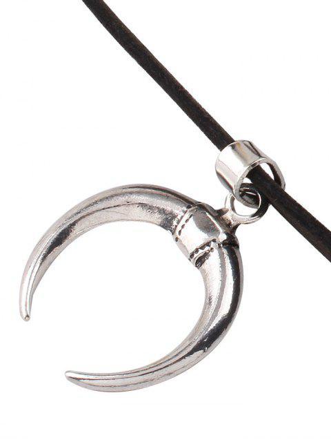 fashion Double Horn Velvet Choker - BLACK  Mobile