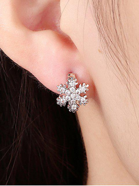 ladies Snowflake Rhinestone Hoop Earrings - SILVER  Mobile