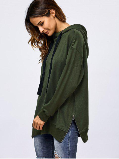shop Drawstring Zipper Side Slit Hoodie - ARMY GREEN L Mobile