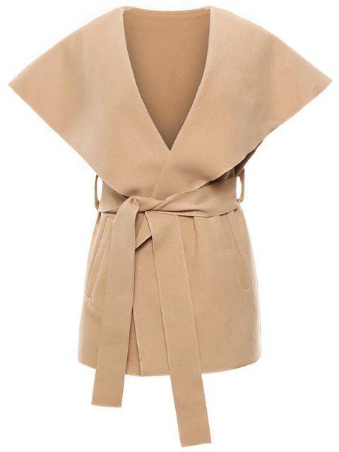 fancy Wool Blend Shawl Collar Belted Waistcoat - KHAKI M Mobile