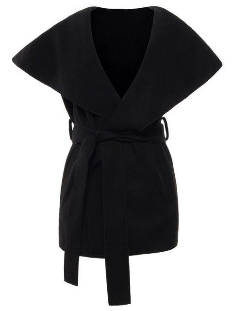 affordable Wool Blend Shawl Collar Belted Waistcoat - BLACK L Mobile