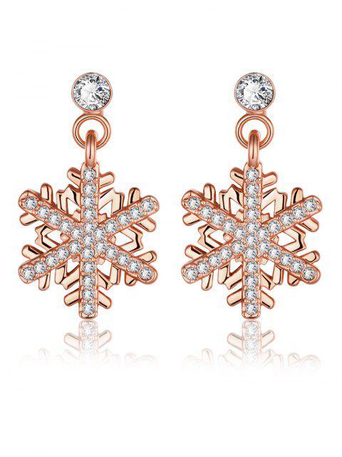 Boucles d'oreilles en strass forme de floconde neige de Noël - Or Rose  Mobile