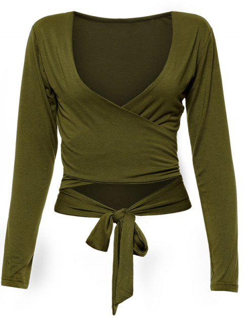 trendy Long Sleeve Wrap Front Criss Cross Crop Top - ARMY GREEN S Mobile