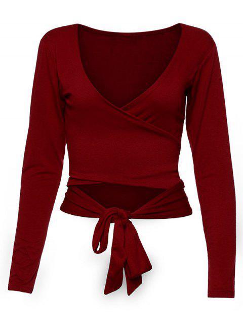 women's Long Sleeve Wrap Front Criss Cross Crop Top - BURGUNDY L Mobile