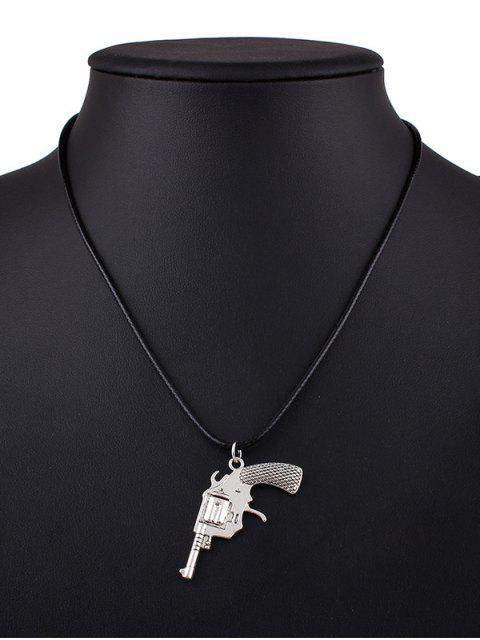 trendy Pistol PU Leather Pendant Necklace - BLACK  Mobile