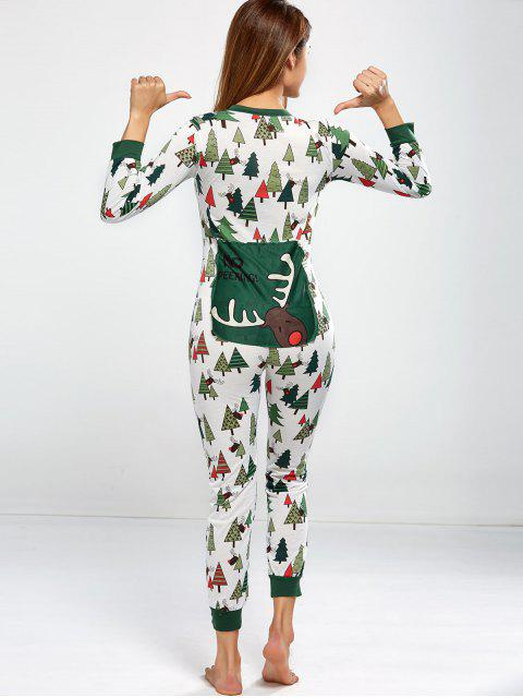 trendy Christmas Tree Print Pajamas - GREEN XL Mobile