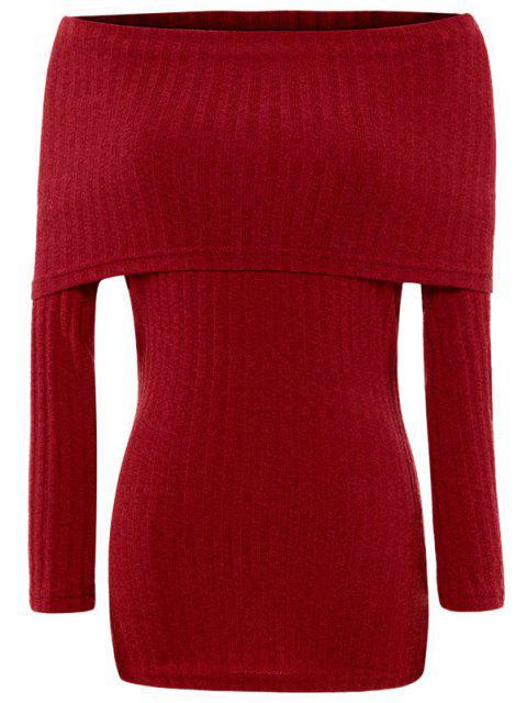 lady Foldover Off The Shoulder Jumper - RED S Mobile