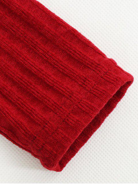 ladies Foldover Off The Shoulder Jumper - RED M Mobile