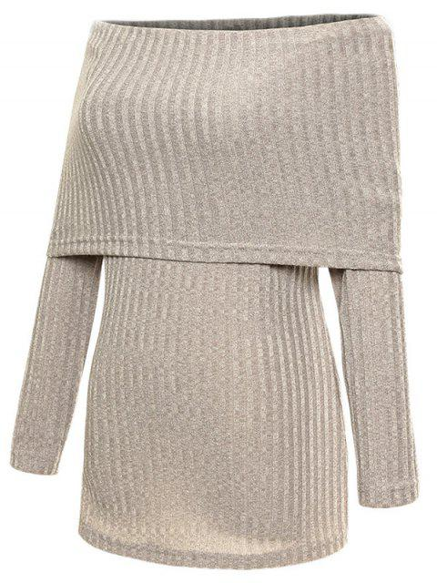 shop Foldover Off The Shoulder Jumper - GRAY M Mobile