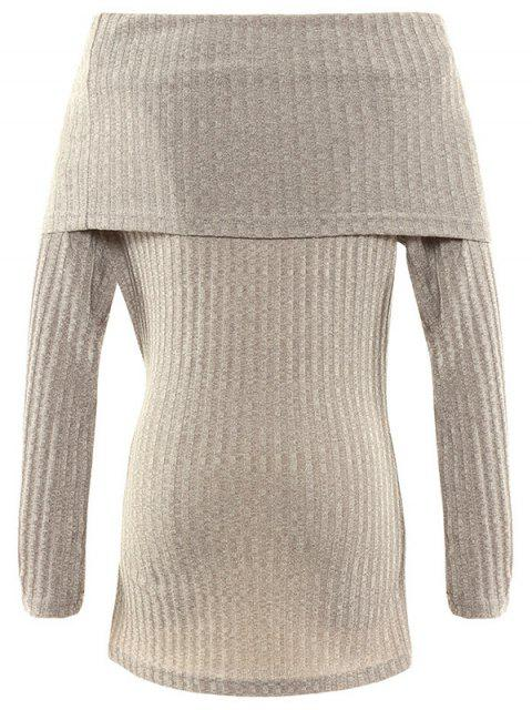 outfit Foldover Off The Shoulder Jumper - GRAY XL Mobile